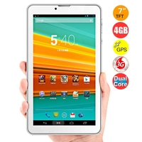 JXD P3000S Dual Core 3G Phone Tablet PC MTK8312 7.0 Inch 512MB+4GB Dual SIM WiFi GPS - White