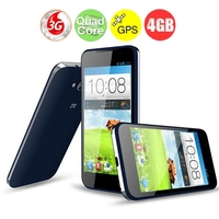 "ZTE V956 4.5"" IPS Qualcomm 8225Q Quad Core Android 4.1 3G Smartphone with 4GB ROM/GPS/Dual SIM Card - Blue"