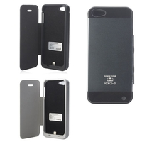 3000mAh Rechargeable External Battery Case Backup Power Bank w/ Indicator Lights for iPhone 5 - White / Black