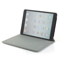"Ultra-thin 8"" Wireless Bluetooth Keyboard QWERTY Waterproof Stand Leather Case Grey"